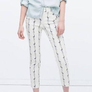 Zara Basic White Blue Flamingo Cropped Ankle Pants